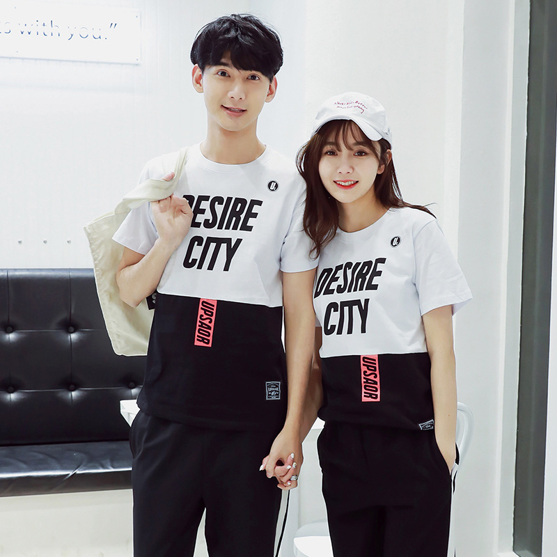 Couple Clothes Two-Piece 2019 Summer New Style Mixed Colors Short Sleeve T-shirt Men And Women Students Business Attire Sports L