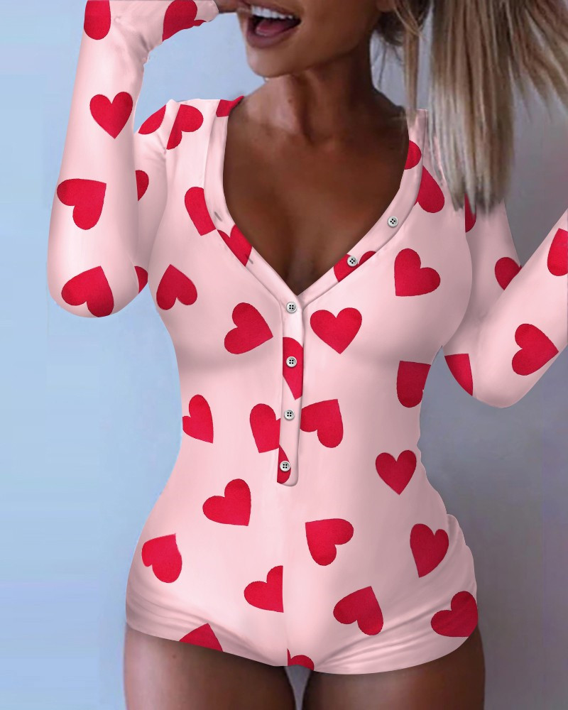 CHRONSTYLE 2021 Valentine's Day Sexy Bodycon Playsuits Long Sleeve Butt Flap Rompers Women Sleepwear One Piece Nightwear Outfits 4
