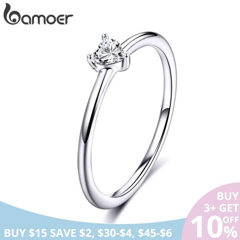 BAMOER ขายร้อน 925 เงินสเตอร์ลิงหัวใจใส CZ ง่ายแหวนสำหรับสุภาพสตรีงานแต่งงานงานแต่งงานเครื่องประดับ SCR498