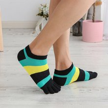 Men Outdoor Sports Socks Cotton Five Finger Skin-friendly Toe Striped Finger-separated Fashion Casual