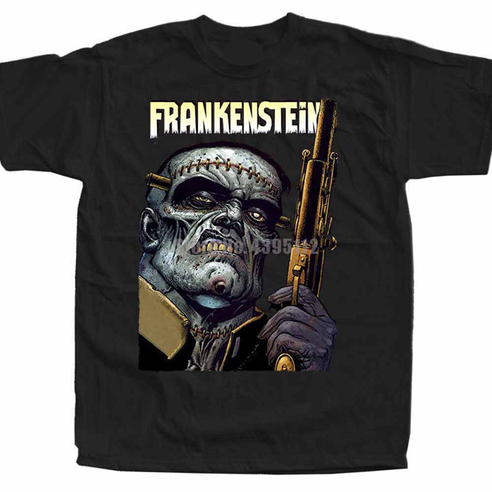 Frankenstein Movie Poster Men'S Weird Shirt Cool T-Shirts Cotton Shirt Fashion Shirts Kimono Jiu Jitsu Apgovj image