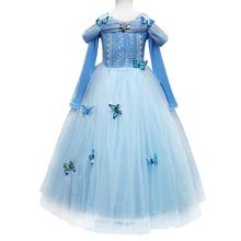 Butterfly long dress Cinderella Princess Costume Ball Gown Tulle Dress Halloween Cosplay Fancy Up Kids Girls Long