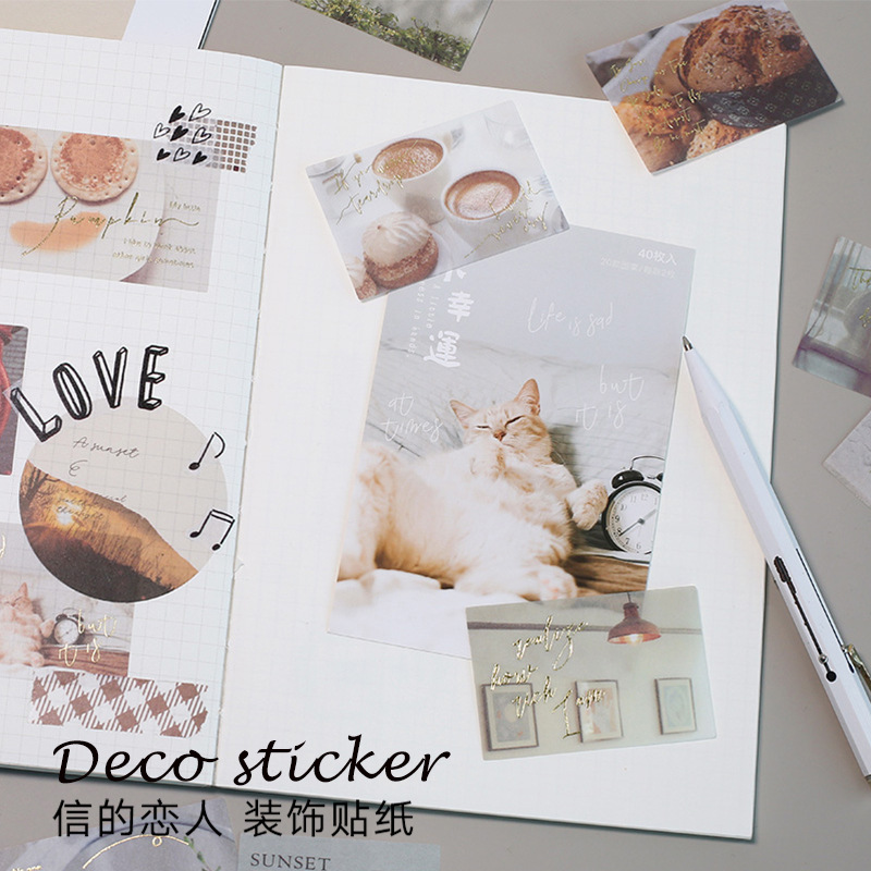 40 Pcs/set Retro Stickers Bullet Journal Stickers DIY Stickers Scrapbooking Diary Sticker Ins Planner Book Decoration Material