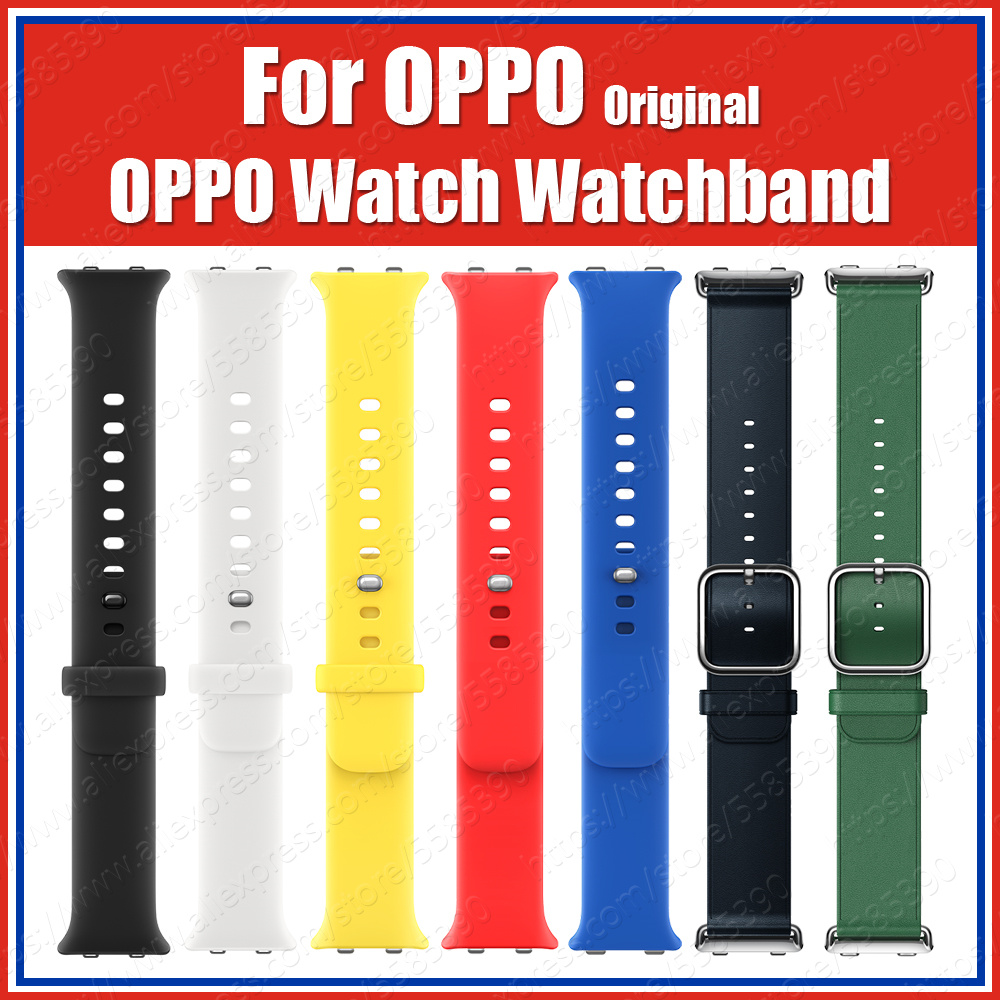 OW19B3L 2020 Official Original OPPO Watch Strap Watchband Italian Cowhide Magnetic Fluorinated Rubber