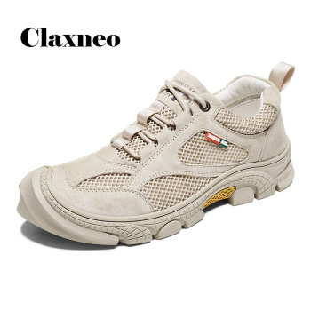 CLAXNEO Man Leather Sneakers Suede 2020 Summer Male Mesh Shoes Breathable clax Men's Shoe Outdoor Walking Footwear Big Size clax mens shoes leather 2019 spring summer male casual shoe fashion man s sneakers leisure walking footwear