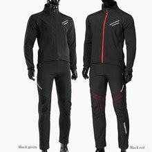 ROCKBROS bisiklet bisiklet bisiklet uzun kollu ceket pantolon setleri kış termal polar Jersey rüzgar geçirmez yansıtıcı spor giyim
