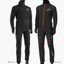 ROCKBROS Radfahren Fahrrad Lange hülse Jacke Hose Sets Winter Thermische Fleece Jersey Winddicht Reflektierende Sportswear Kleidung