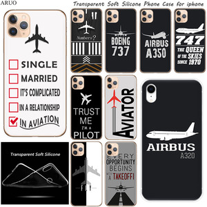 SOFT TPU Phone Case for iphone 11 11Pro XS Max X XR SE Airplane DIY Airstrip Number Clear Silicone cases for 7 8 6s Plus 5 cover(China)