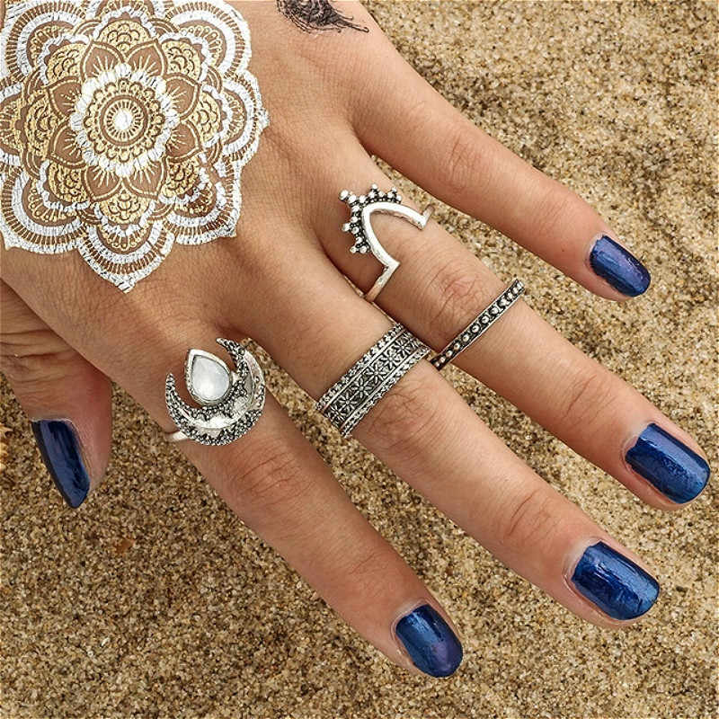1 Set Sell Starry Night Shining Vintage Knuckle Rings for Women Geometric Flower Crystal Ring Set Bohemian Jewelry 25 Set