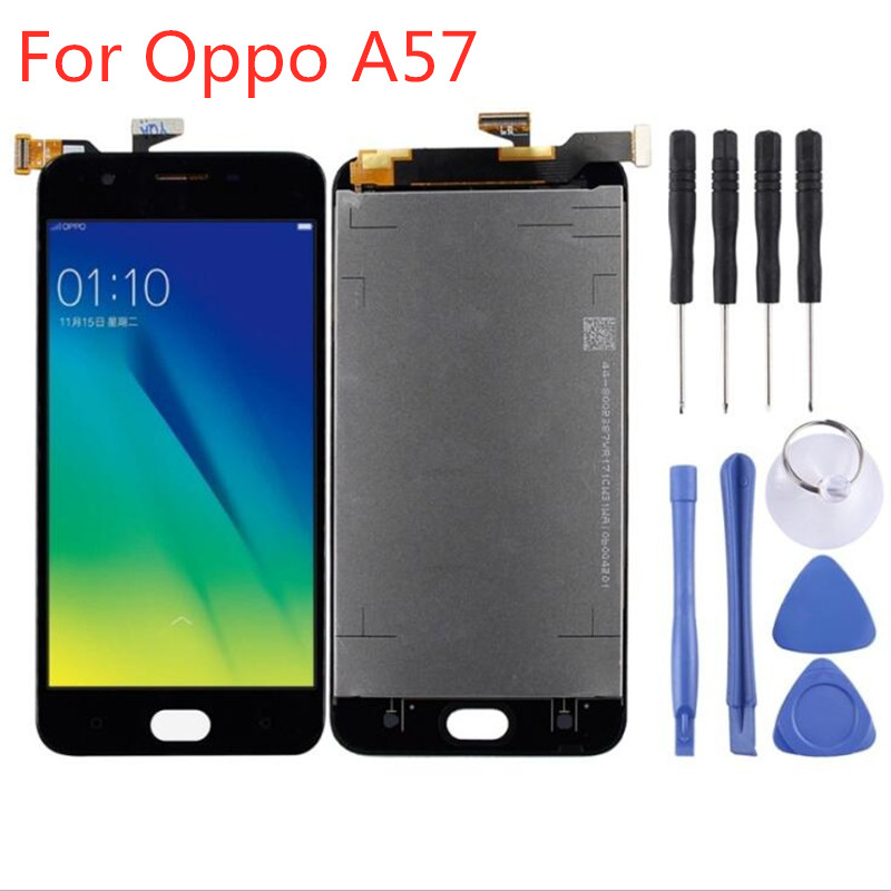 High Quality 5.2 inch White/Black For <font><b>OPPO</b></font> <font><b>A57</b></font> Full LCD <font><b>display</b></font> Touch Screen Digitizer Assembly Without Frame image