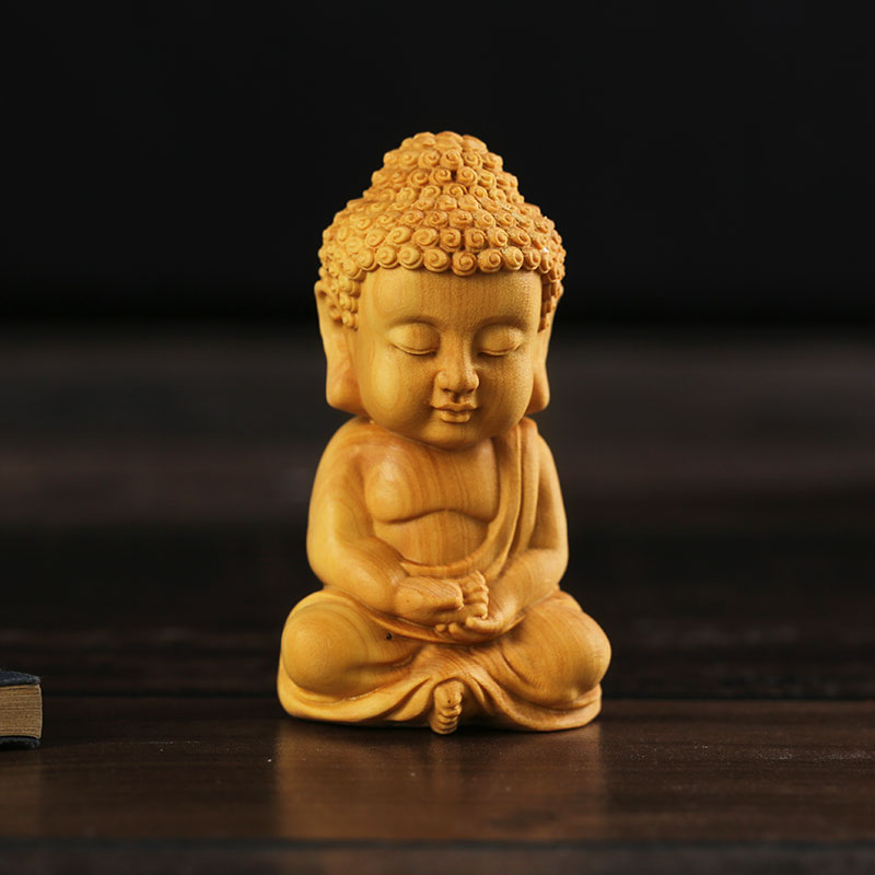 Yueqing Boxwood Carving Car Decoration Handicraft Gifts Statue Small Buddha Amitabha Religious Buddha Sculpture Mini Gift Toy