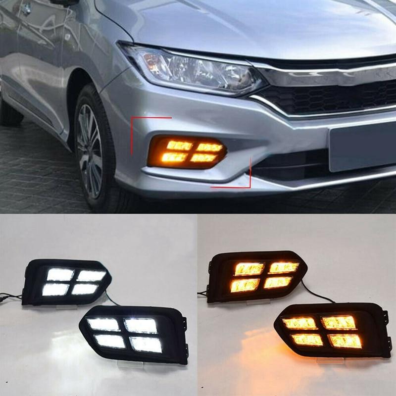LED Daytime Running Light DRL Yellow Turn Signals Fog Lamp for Honda City 2017 2018