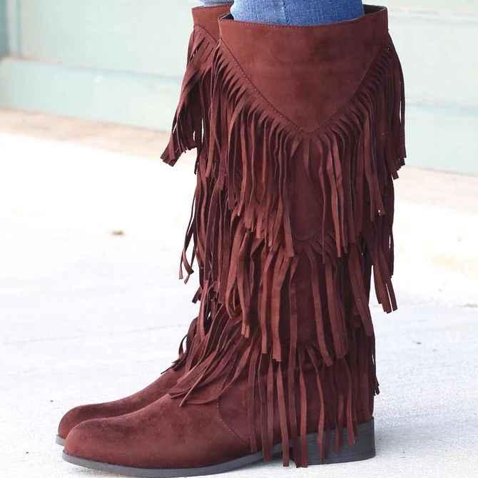 Vertvie Boho แฟชั่น Flock รองเท้าหนังผู้หญิง Fringe แบนรองเท้าส้นสูงรองเท้าส้นสูงผู้หญิงเข่าเข่าสูงรองเท้าขนาด 35- 43