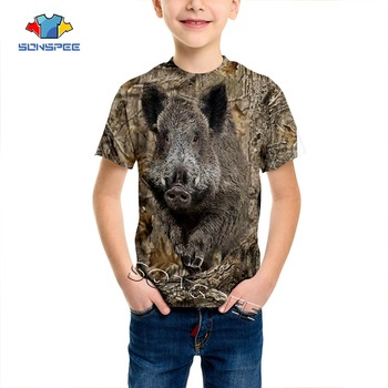 SONSPEE Summer Casual Child t shirt Camo Hunting 3D Animal Wild boar Boys T-shirt Fashion Streetwear Kids Funny Short sleeve Tee - discount item  15% OFF Tops & Tees