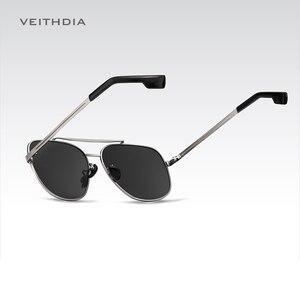 Image 3 - VEITHDIA Marke männer Vintage Sonnenbrille Edelstahl Sonnenbrille Platz Polarisierte UV400 Objektiv Männlichen Brillen Zubehör Für Männer
