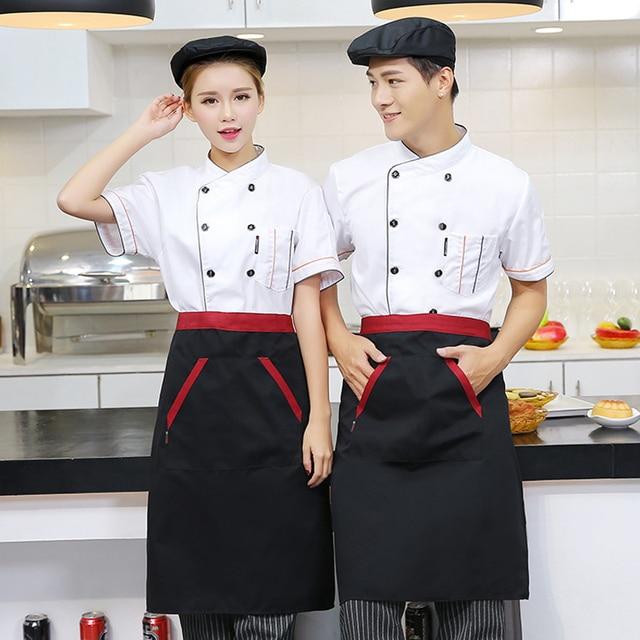 Chefs Short Sleeve Jacket Hat Apron 4