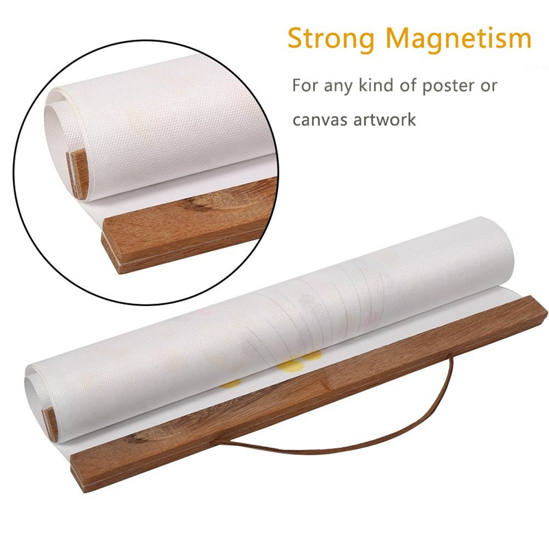 21/<font><b>30</b></font>/<font><b>40</b></font>/50/60cm Magnetic Wooden <font><b>Photo</b></font> <font><b>Frame</b></font> Wall Poster Picture Scroll Artwork Hanger image