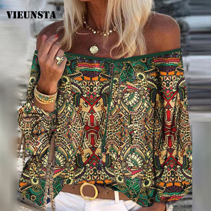 2020 Boho Blouse Elegant Floral Print Flare Sleeve Shirt Sexy Lace-up Tassel Off Shoulder Women Tops Spring Summer Chic Blouses(China)