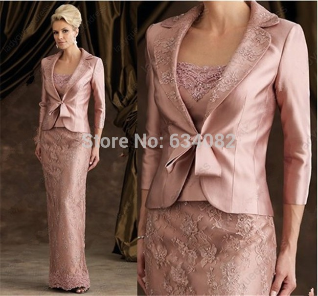 2016 Elegent Sheath Floor-Length Pink Lace Stain Long Sleeve Mother Of The Bride Dresses With Jacket Mother Of The Groom Dresses