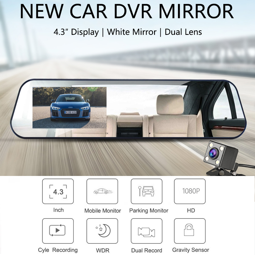 Car Dvr Dual Lens Car Camera White Rearview Mirror Recorder With Rear View Camera Video Registrator Auto Vehicle Dvr Dash Cam 2