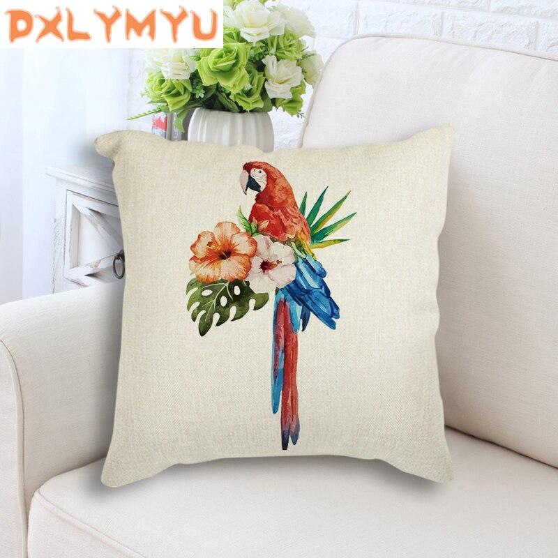 Watercolor Bird Flower Painting Printed Cushion Linen Throw Pillow Decorative Cushion For Sofa Nordic Pillowcase Home Decor