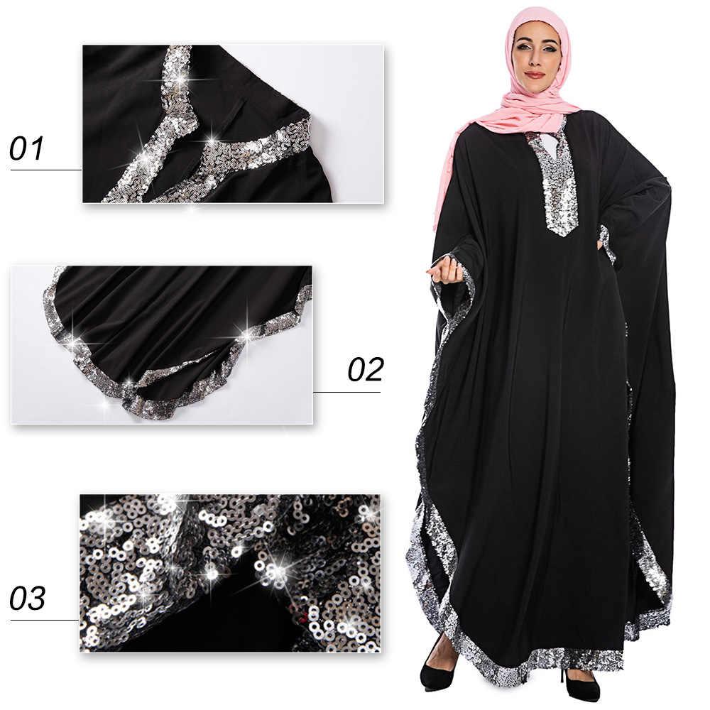 Турецкая абайа Восточный халат из марокена Femme Musulman халат черный Свободный кардиган с широкими рукавами