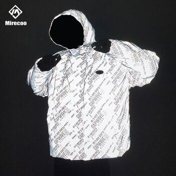 Full Reflective Winter Jacket Men Multi-Letter Parka Hip Hop Streetwear Hood Padded Jacket Coat Outwear Windbreak Men Clothes