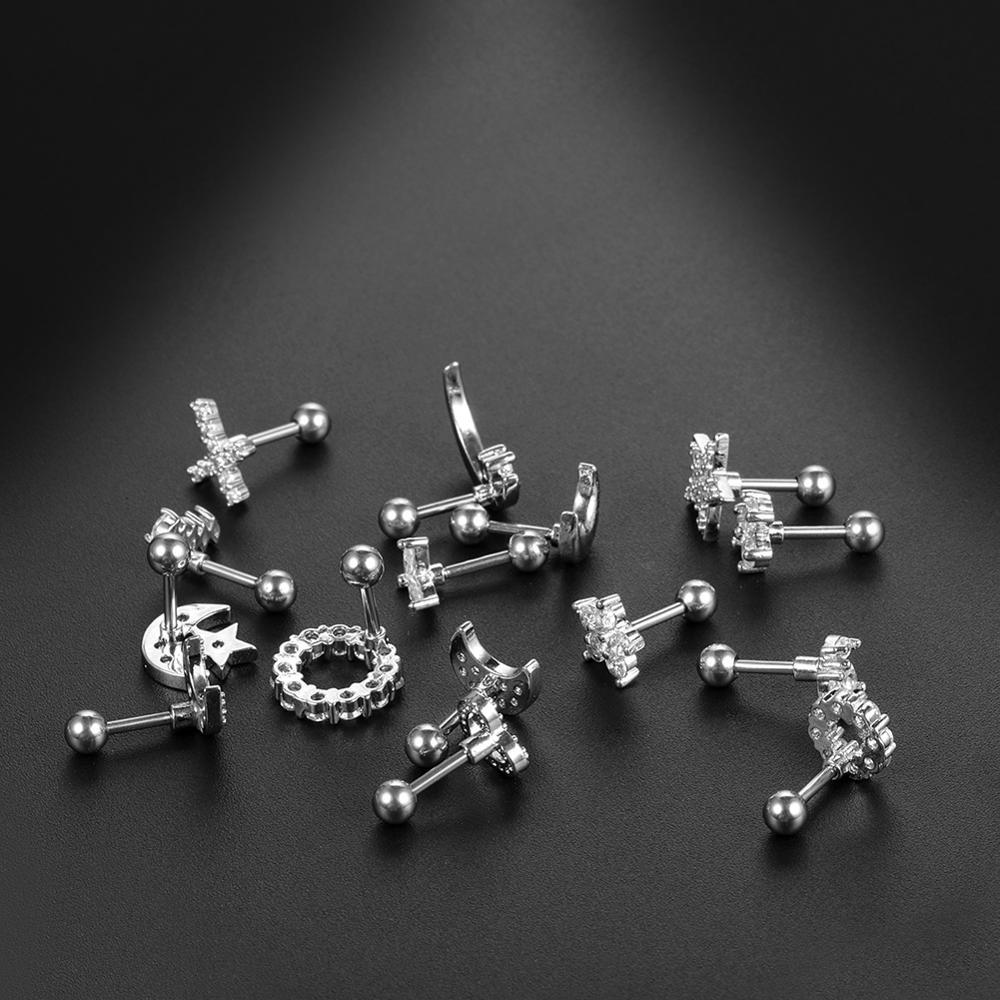1PC 16G CZ Gem Cartilage Stud Moon Star Heart Cross Flower Crown Helix Tragus Piercings Conch Rook Stud Earring Piercing Jewelry