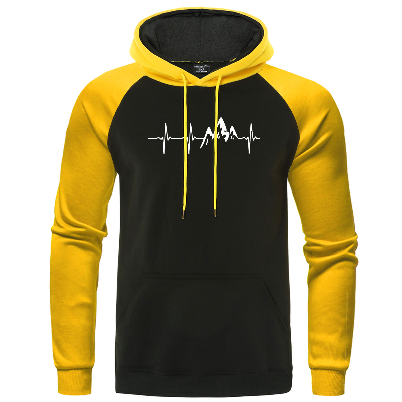 Mountain Ecg Men's Hoodies 2019 Autumn New Warm Men Tracksuit Funny Hip Hop Sweatshirts Male Raglan Hoodie Harajuku Streetwear