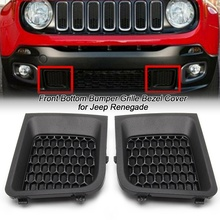 1/2 pcs Front Lower Bumper Grill Grille Bezel L/R Black ABS Cover For Jeep Renegade 2015 2017 Car Exterior Accessory