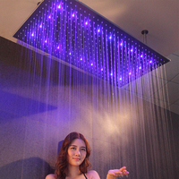 luxury LED Shower Head Bathroom Rain Shower Panel Watering Can 400*800mm 304 Stainless Steel Square Bath Spa Ceiling Showerheads
