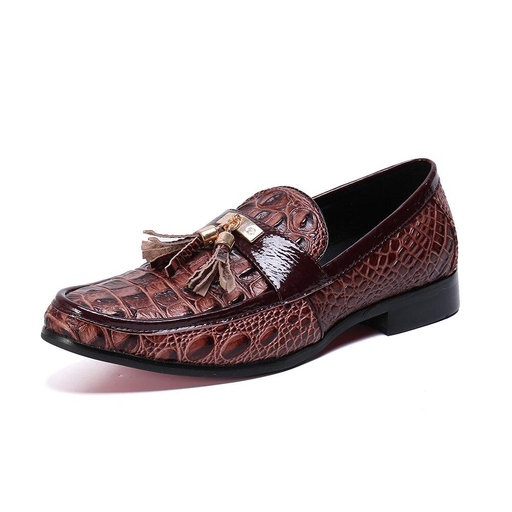 Zapatos casuales para hombre moda marrón borla hombres mocasines marca de lujo hombres zapatos de negocios Slip On zapatos de boda - 3