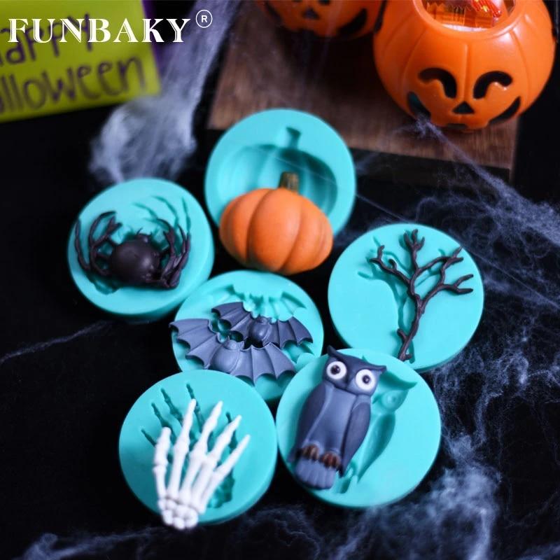Fondant Halloween Decorations.Funbaky Halloween Decoration Fondant Cake Mold Chocolate Handmade Silicone Mold Bat Pumpkin Lantern Mould Cake Molds Aliexpress