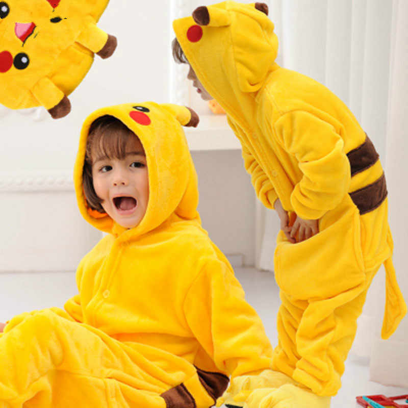 2019 New Kids Children 겨울 플란넬 만화 따뜻한 키 구루 미 Onesie Cosplay Animal Pajamas Homewear With Zipper