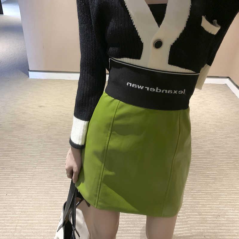 Sexy Brief Hohe Taille Pu Leder Röcke Frauen Schärpe zipper Bleistift Mini Rock 2020 Frühling Streetwear Rot Lila Röcke Kurze 211H