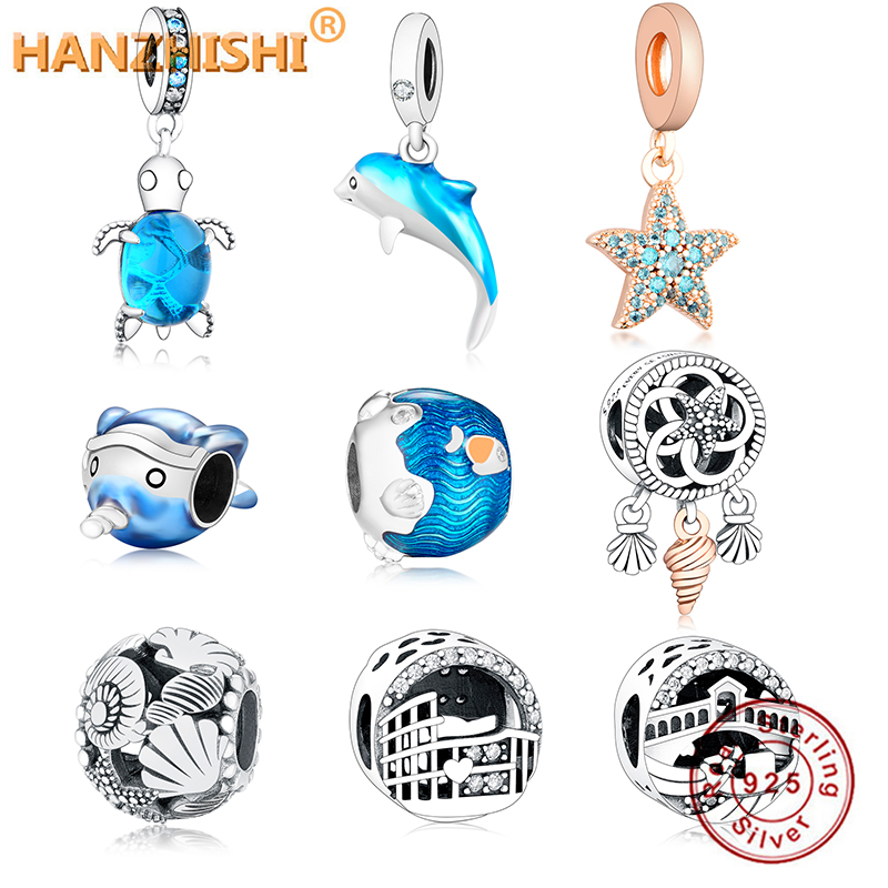 2020 Summer New 925 Sterling Silver Shimmering Ocean Waves Fish Charms Beads fit Original Pandora Bracelets Women DIY Jewelry(China)