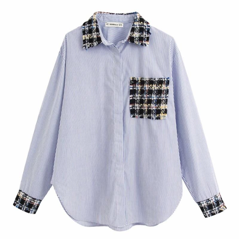 2020 Women Vintage Tweed Woolen Patchwork Striped Casual Smock Blouses Retro Business Chic Femininas Blusas Loose Shirts LS6440
