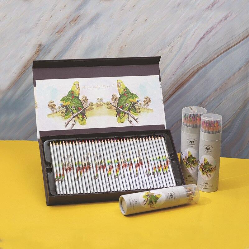 24 36 48 lapis de cor cor solúvel em água profissional lápis premium macio núcleo aquarela para material da escola de arte