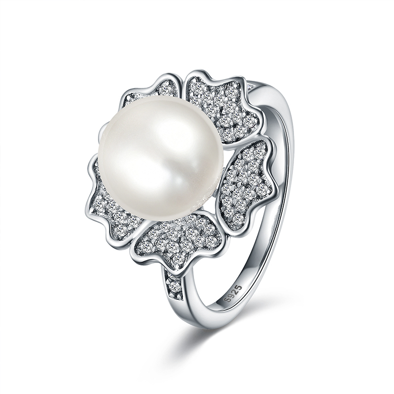 925 Sterling Silver Charm Clear CZ /&White Freshwater Pearl Pendant for Women