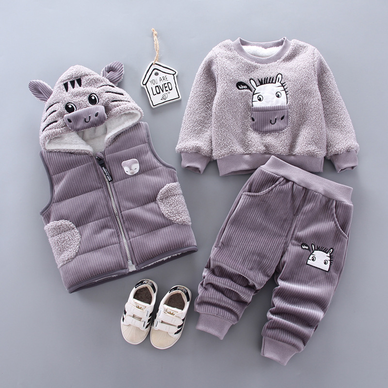 Children's lamb wool warm clothes winter baby boy clothes baby girl cartoon cat plus velvet thick hooded sweater 3-piece set
