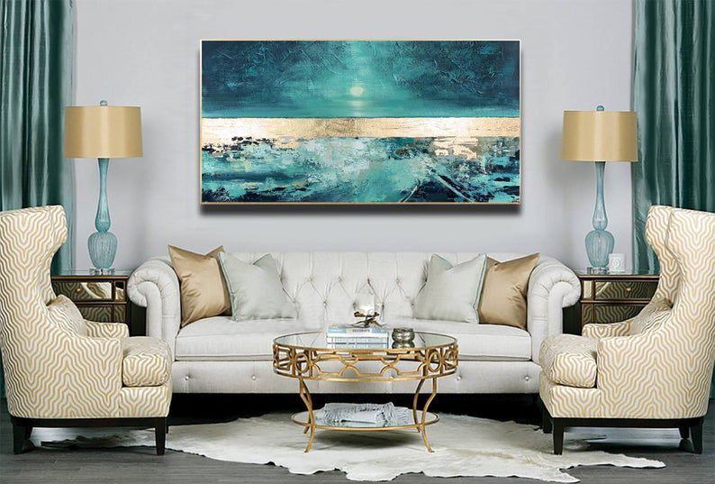 Abstract Painting Large Wall Art Sea Painting Minimalist Canvas Art Gold And Blue Art Handmade Acrylic Wall Painting Home Decor