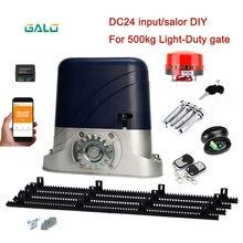 Thuis Villa Automatische Dc Motor Schuifpoort Opener Operator Kit Solar Dichter Voor 500kgs Gate Met 4M Nylon Gear rack Rails