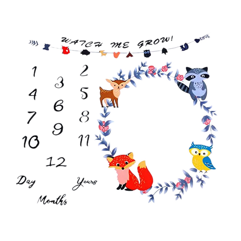 Baby Monthly Milestone Blanket Newborn Photo Props Shoots Backdrop Boys Girls Growing Infants Toddlers Swaddle Blanket