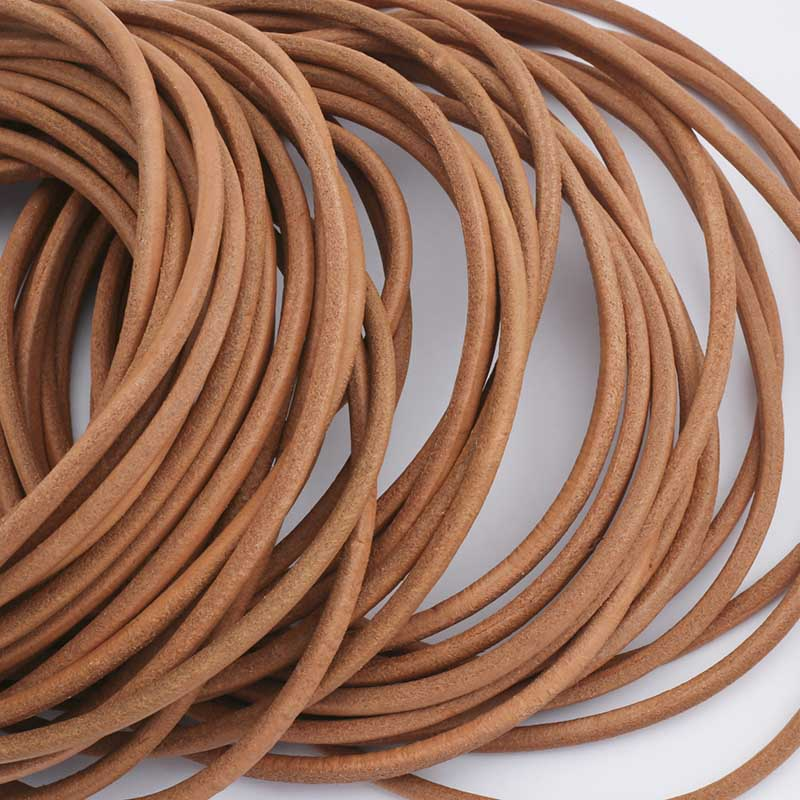 2meters 5mm Brown Round Genuine Leather Cord for Bracelet Jewelry Findings