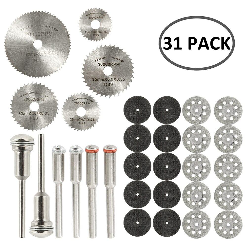 Алмазные режущие диски из быстрорежущей стали, 31/41/42 шт., лезвие для циркулярной пилы, вращающийся деревообрабатывающий инструмент для мини-...