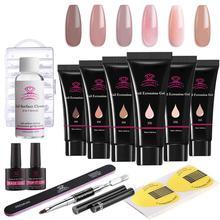 Makartt kit para extensão de unhas poly, kit para gel, extensão de unhas, cores nude, kit para espessamento de unhas para iniciante
