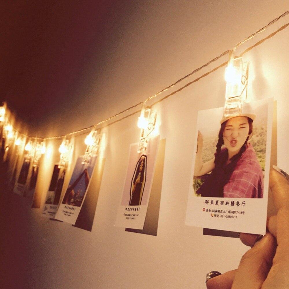 1,5 м фото клип держатель светодиодные гирлянды Батарея приведенный в действие на Новый год и Рождество вечерние Святого Валентина свадьбы у...