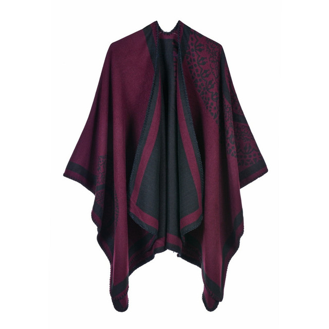 Luxury Brand Ponchos coat 2020 Cashmere Scarves Women Winter Warm Shawls and Wraps Pashmina Thick Capes blanket Femme Scarf 4