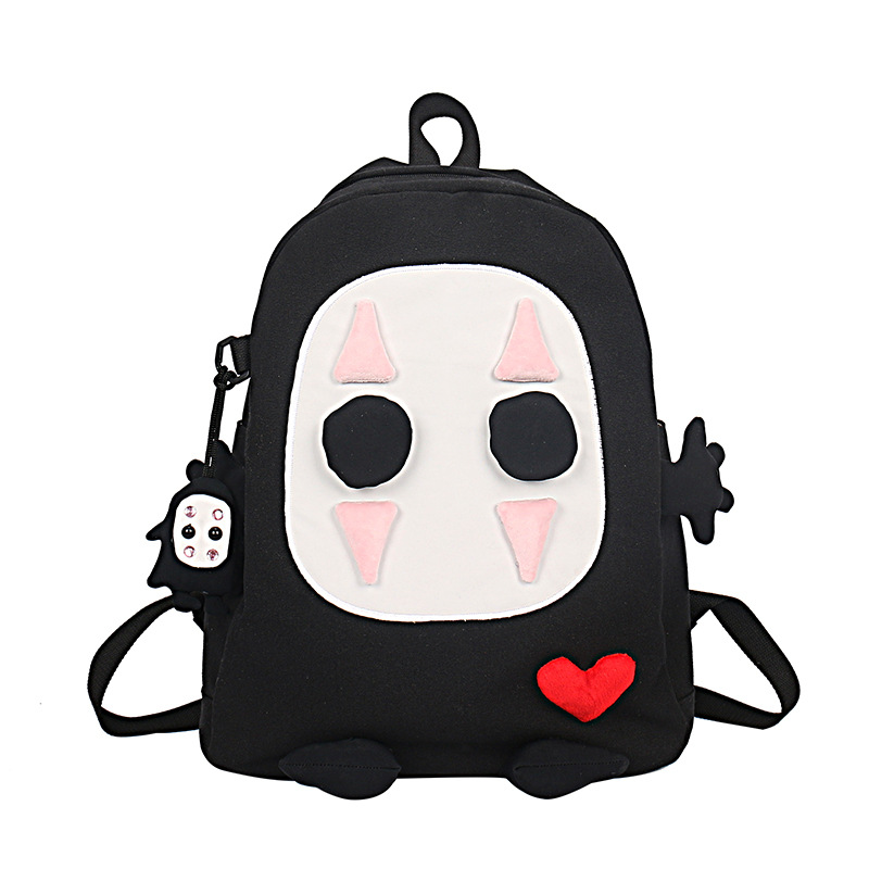 Cartoon <font><b>Spirited</b></font> <font><b>Away</b></font> No-Face Canvas <font><b>backpack</b></font> stitching cute travel student shoulder bag schoolbag image