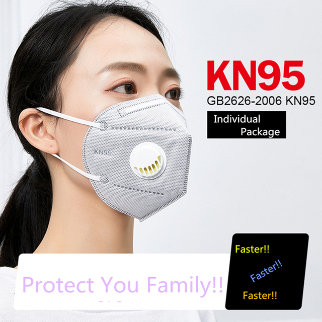 5pcs/set Folding KN95 Mask Anti-dust, Flu, Virus,Smoke Respirator Face Protection with Self-priming Filter With Retail Package 3